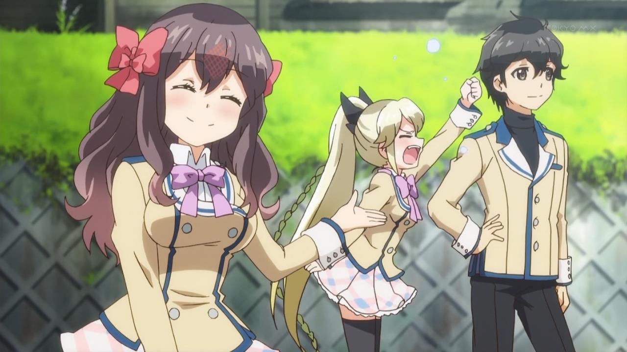 kanojo-ga-flag-wo-oraretara-if-her-flag-breaks-gaworare-nanami-knight-bladefield-souta-hatate-akane-mahougasawa-yelling-hand-posing-smile